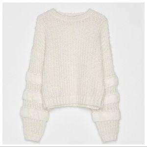 NWT. Bershka Ivory Sweater/Fuzzy Stripes. Size XS.